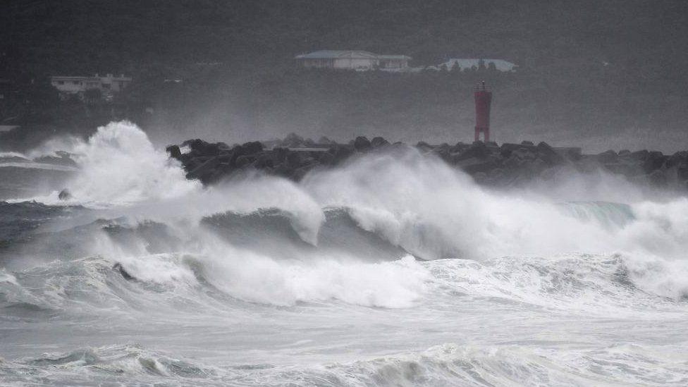 Waves crash on the coast as Typhoon Haishen approaches in Makurazaki, Kagoshima prefecture on September 6, 2020