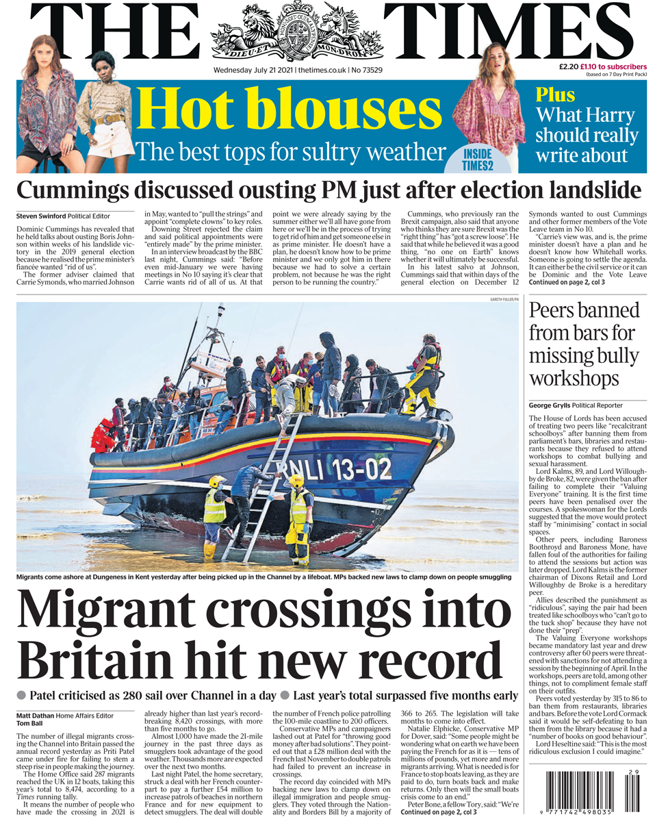 The Times front page 21/07/21