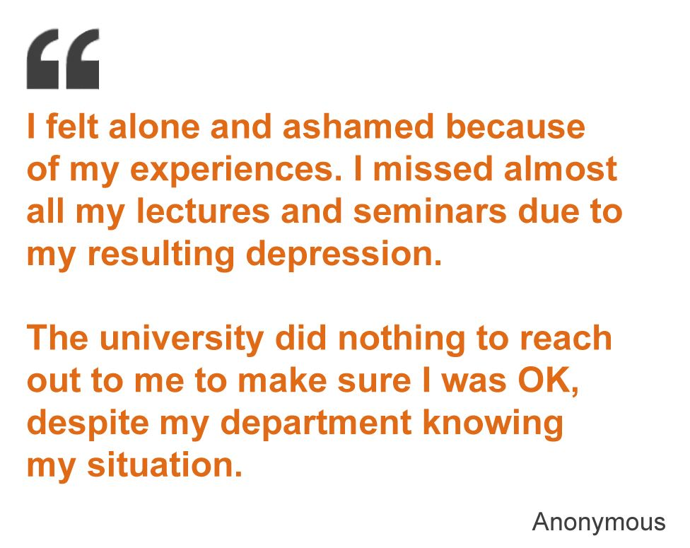 I felt alone and ashamed because of my experiences. I missed almost all my lectures and seminars due to my resulting depression. The university did nothing to reach out to me to make sure I was OK, despite my department knowing my situation.