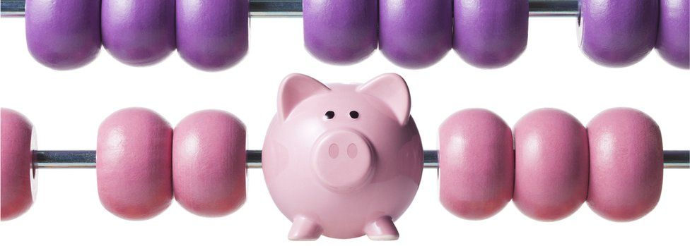 Piggy bank on abacus
