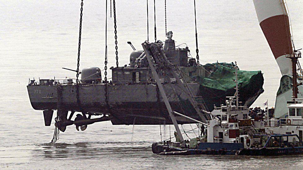 The South Korean naval corvette Cheonan is raised