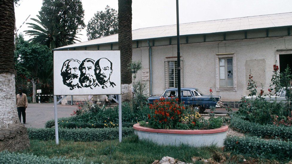 Asmara (Erithrea). Communist propaganda (during the Ethiopian activity(occupation)). Marx, Engels and Lenin.