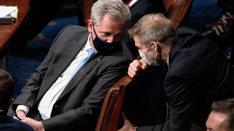 House Minority Leader Kevin McCarthy (R-CA) and Rep. Jim Jordan (R-OH) talk during a joint session of Congress to certify the 2020 Electoral College results after supporters of President Donald Trump stormed the Capitol earlier in the day, on Capitol Hill in Washington, U.S. January 6, 2021.