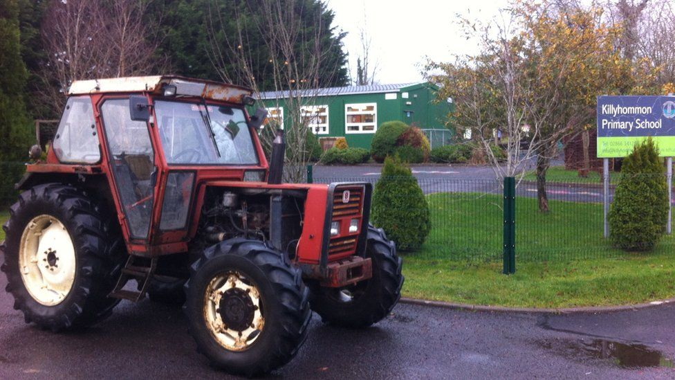 This tractor helped some children get to school at Killyhommon Primary School in Boho, County Fermanagh