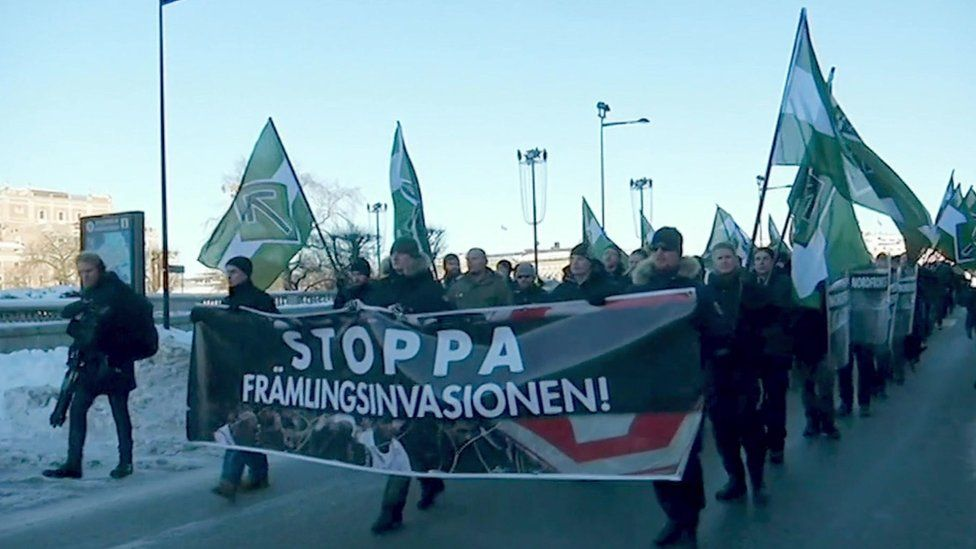 Swedish neo-Nazis rally in Stockholm