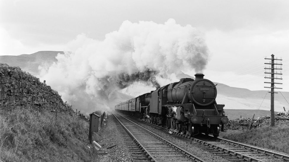 Class 5 locomotive with a passenger train at Ais Gill on the Settle to Carlisle line, 1955