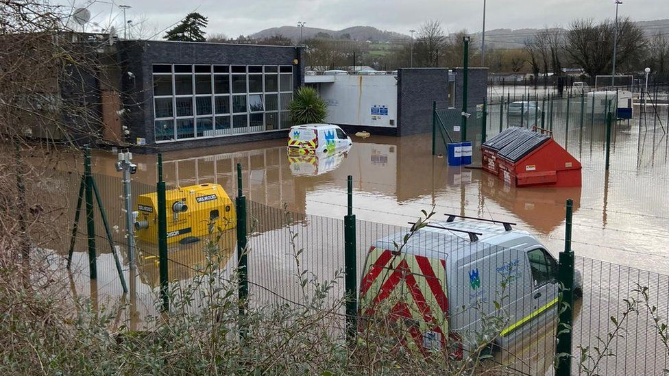 Welsh Water's flooded treatment works at Mayhill