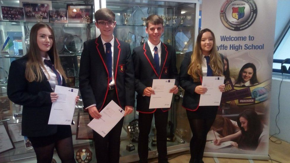 Pupils at Gryffe High School with their results