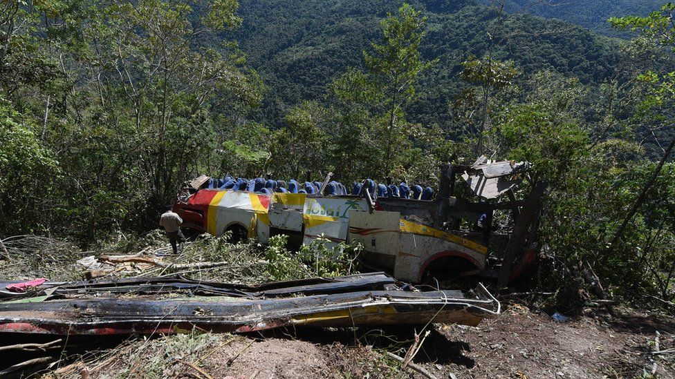 View of the bus that fell into a ravine in Bolivia