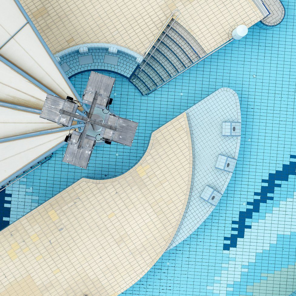 An aerial shot of a swimming pool in Germany