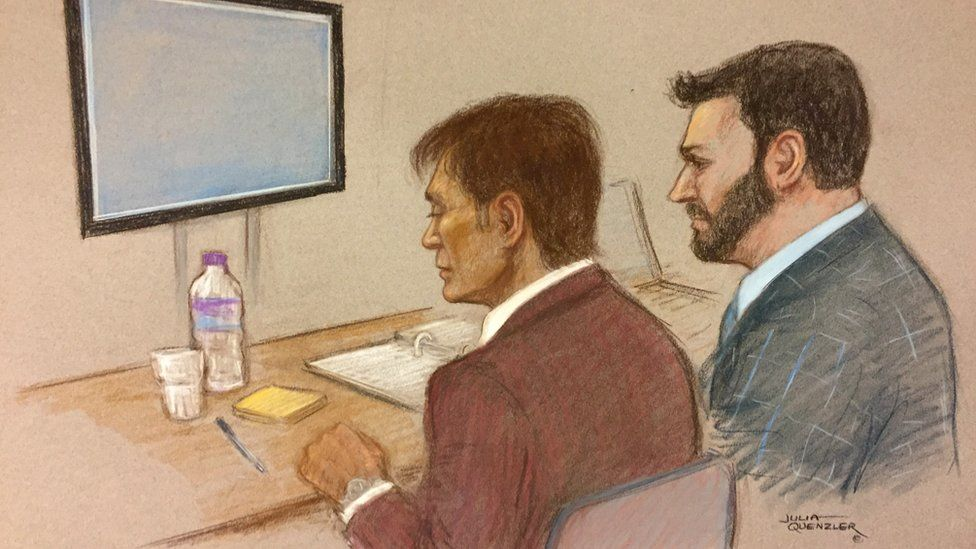 Drawing of Sir Cliff Richard at High Court on 12 April 2018