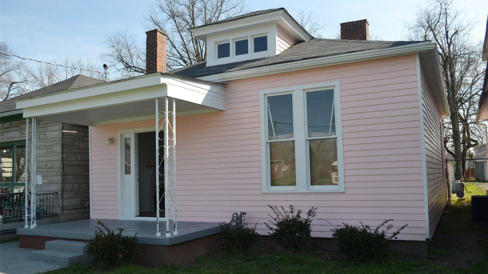 In this March 18, 2016 photo, the childhood home of Muhammad Ali is seen in Louisville, Kentucky