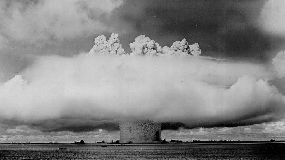 A nuclear bomb being tested