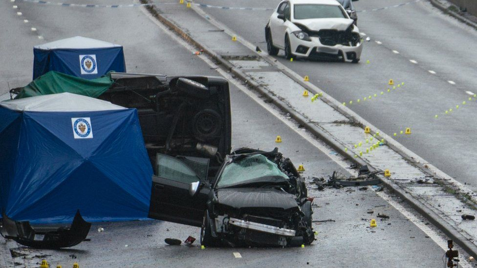Crash scene on Belgrave Middleway