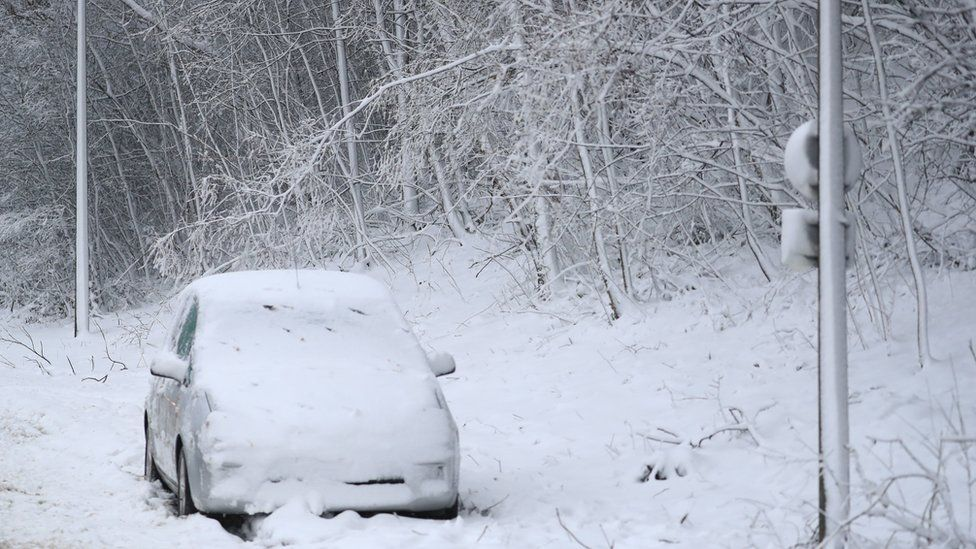 Car left abandoned at the side of the road in the Blue Bell Hill area near Maidstone, Kent