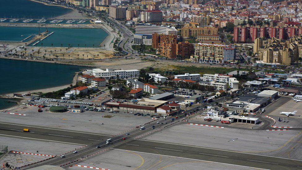 Gibraltar's runway crosses a main road