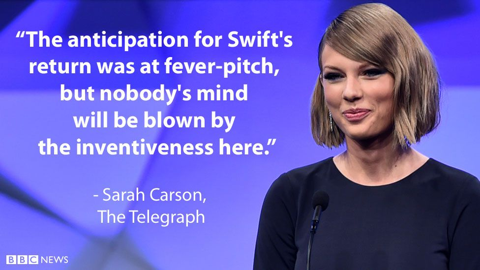 """Sarah Carson's review for the Telegraph: """"The anticipation for Swift's return was at fever-pitch, but nobody's mind will be blown by the inventiveness here."""""""