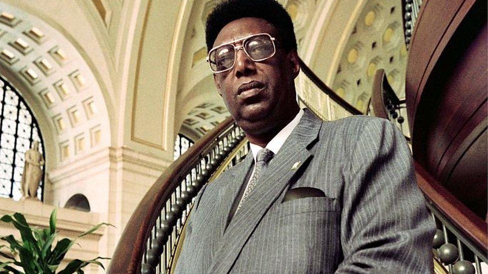 A photo taken on May 3, 1994 shows exiled King Kigeli V Ndahindurwa of Rwanda posing in Washington's Union Station.