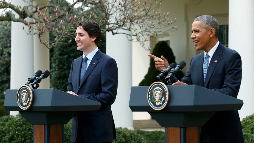 U.S. President Barack Obama (R) addresses a joint news conference with Canadian Prime Minister Justin Trudeau in the White House Rose Garden in Washington March 10, 2016.