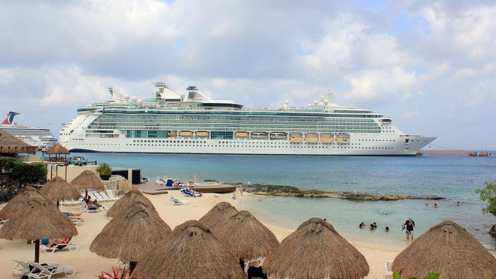 The cruise ship Brilliance of the Seas is docked in the waters of Cozumel, Mexico, Saturday, 19 March 2016.