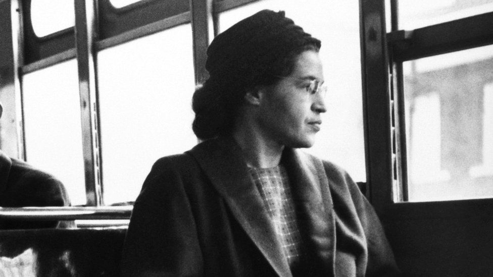 Rosa Parks sits in the front of a bus in Montgomery, Alaska