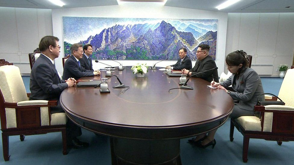 A still from the televised portion of the summit between Moon Jae-in and two aides on one side of the table, and Kim Jong-un, Kim Yo-jong and Kim Yong-chol on the other side.