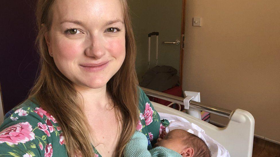 Mum Heather with her newborn baby
