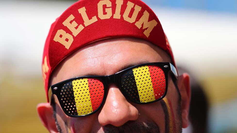 Belgian football fan with hat on