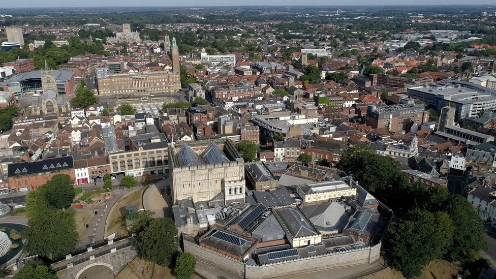 Norwich city centre from the air