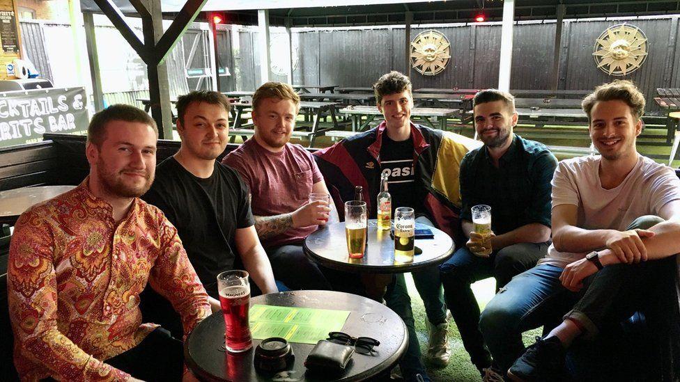 Johnny, Matt and friends in the pub