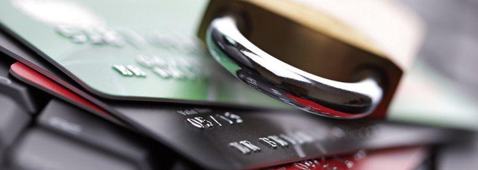 Padlock and bank cards