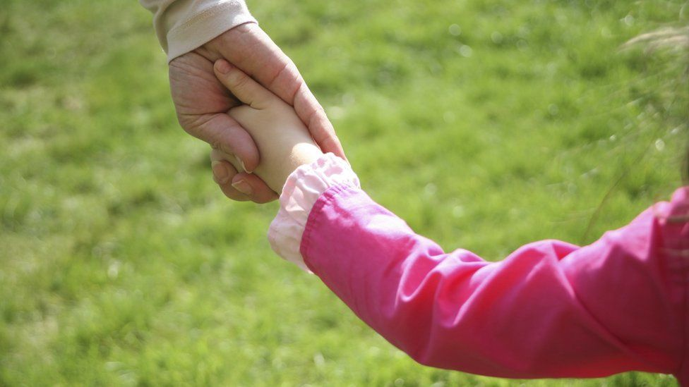 Girl holding hands