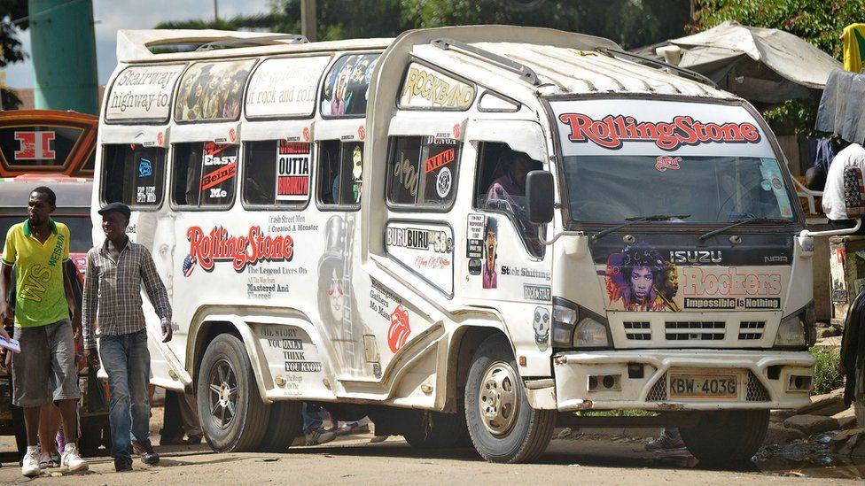 'Matatu' in a suburb of Nairobi