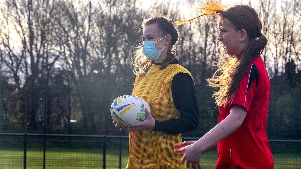 Children play rugby in Warrington