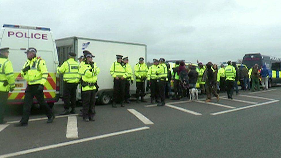 Police at Preston New Road
