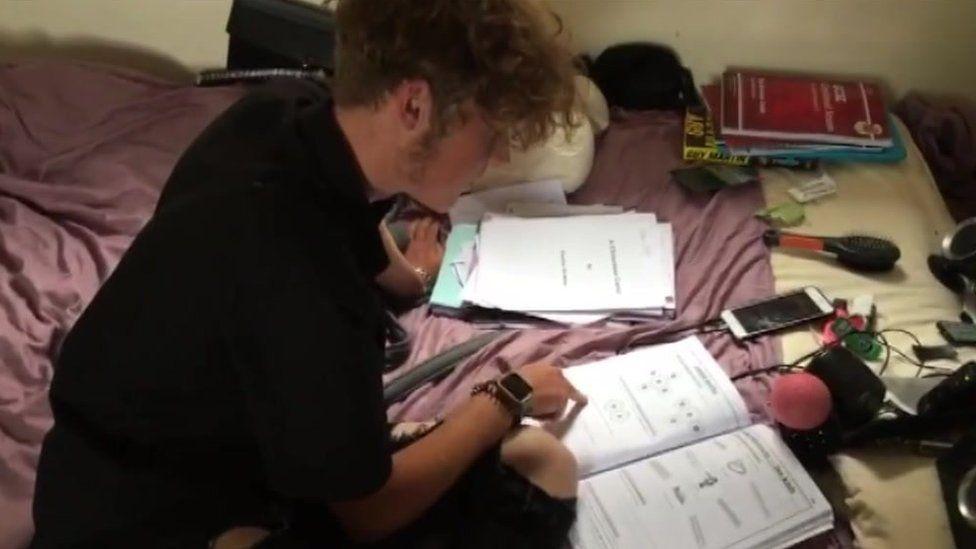 Charlie doing homework