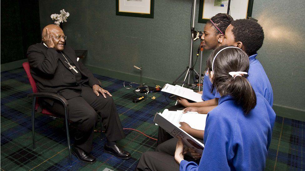 School Reporters and Desmond Tutu