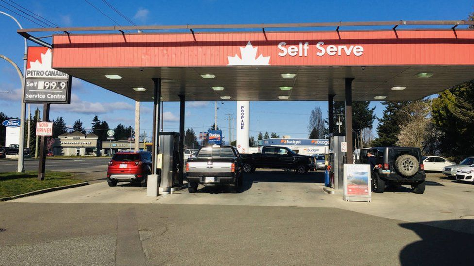 The price of fuel in Vancouver: 99.9 Canadian cents per litre [57 pence per litre].