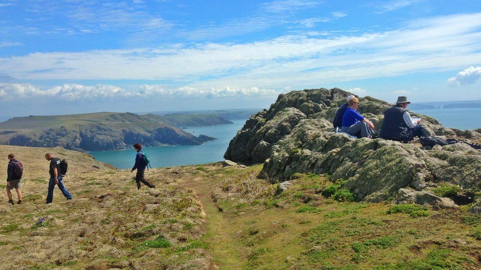 Hikers on Skomer Island