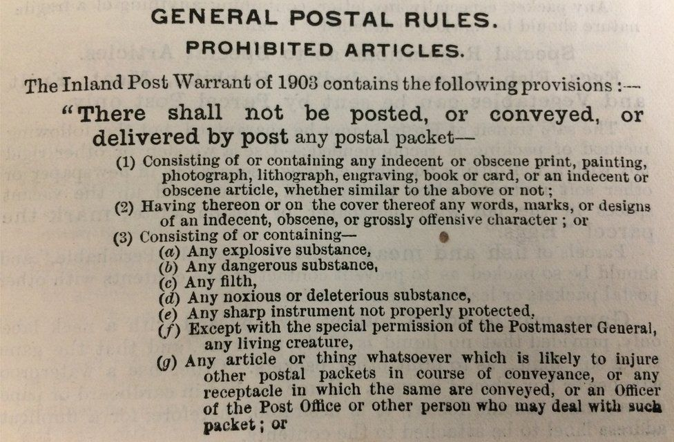 Post office regulations from 1920