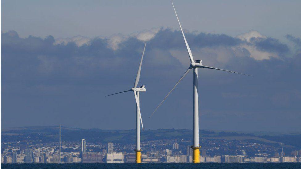 Two off-shore turbines near Brighton