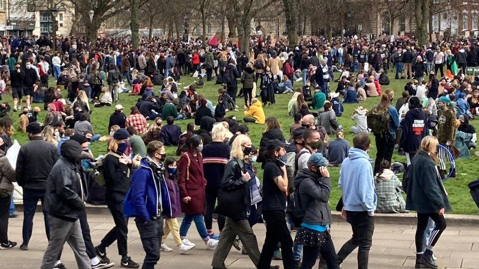 Protesters in College Green