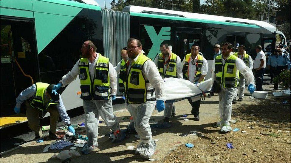 Scene of bus attack in Jerusalem (13/10/15)