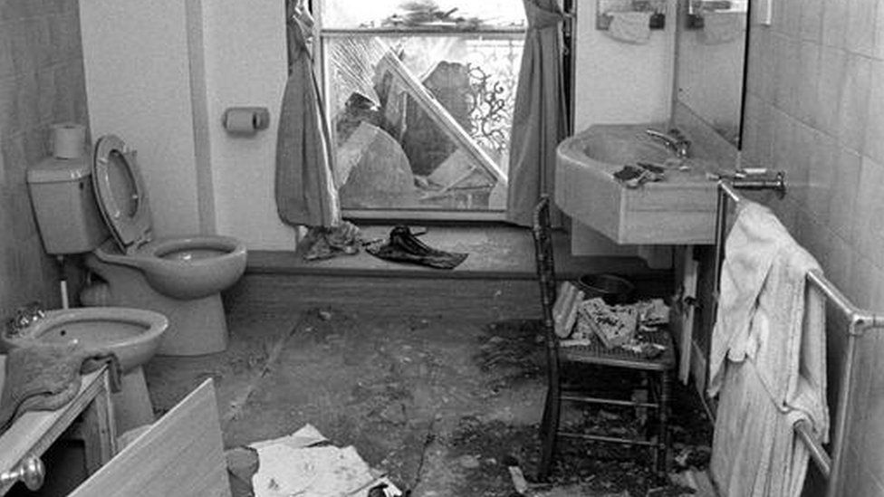 Margaret Thatcher's bathroom in the Grand Hotel, Brighton, following the explosion