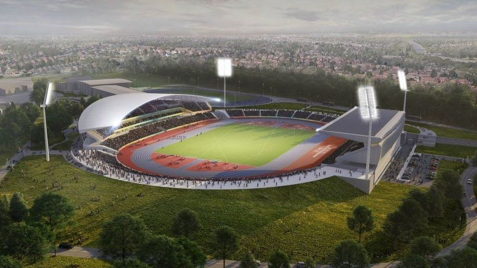 Artist's impression of Birmingham's Alexander Stadium after its revamp