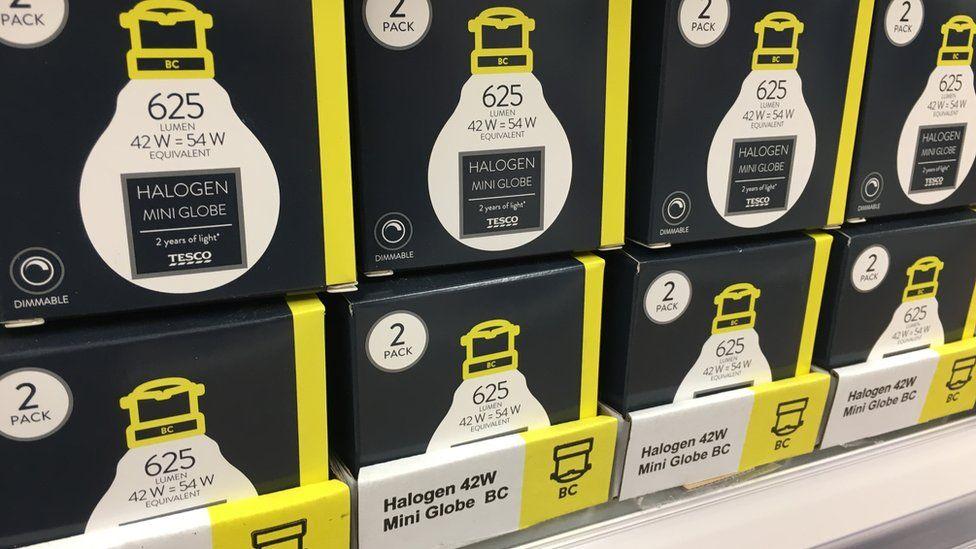 Halogen lamps on sale in supermarket