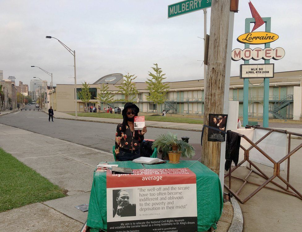 Jacqueline Smith pictured outside the Lorraine Motel in late 2017