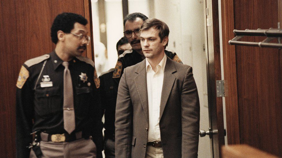 Jeffrey Lionel Dahmer appears at his trial