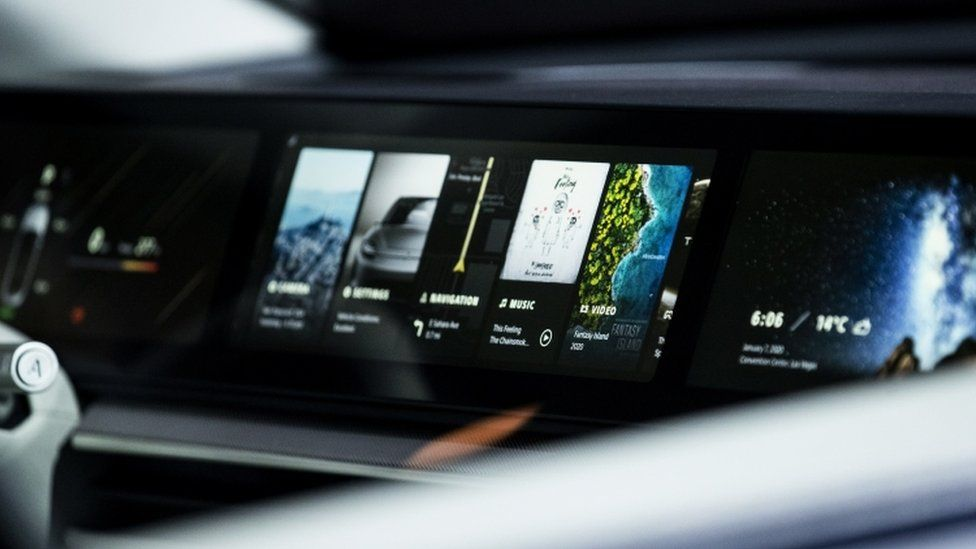 Sony's panoramic screen inside its Vision S concept car