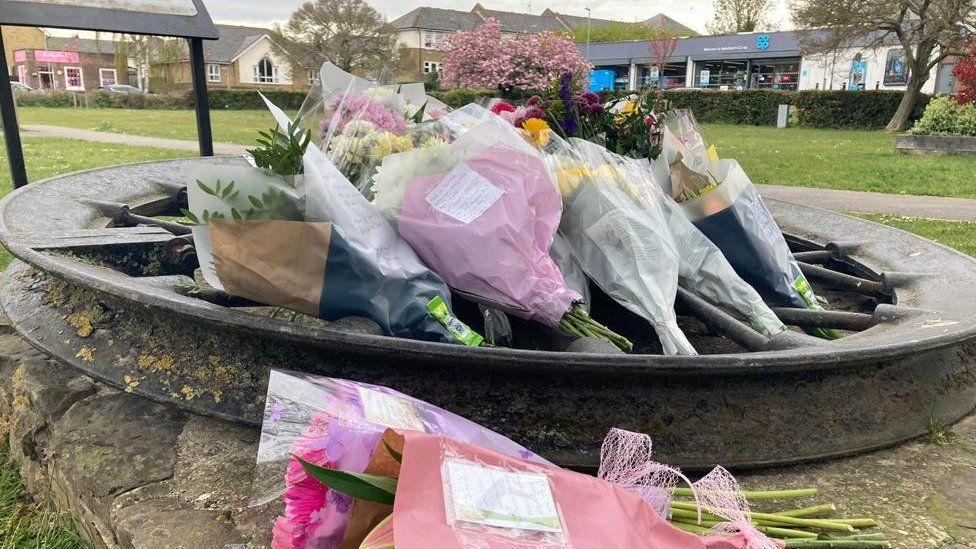 Flowers at murder scene